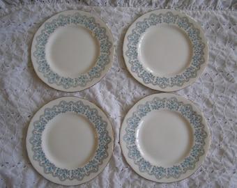 Set of 4 Vintage Crown Staffordshire Dessert Bread Plates ~ Bellflower