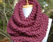 Purple Fig Knit Infinity Scarf, Chunky Scarf, Hand Knit Infinity Scarf, Women Scarves, Knitted Neckwarmer, Circle Scarf, Knitted Scarf, Fall