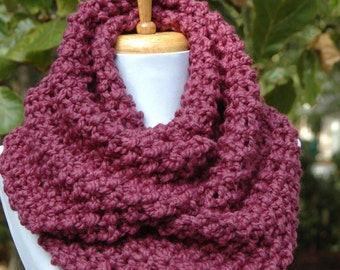 Purple Fig Knit Infinity Scarf, Knit Scarf, Chunky Scarf, Knitted Circle Scarf, Women's Scarves, Wool Scarf, Winter Scarf, Infinity Scarf