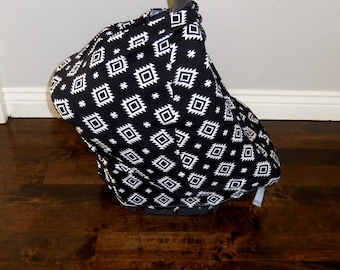 Black Aztec Knit Car Seat Canopy, Nursing Cover, Shopping Car Cover & Scarf