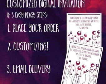 Customized Digital Halloween Dinner Party Invitation US or A6 for Your Printing Pleasure with Digital E-card Invitation