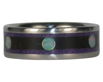 Six Opal Wood and Stone Ring