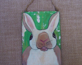 Rabbit Bunny original Painting Prim, Rustic Farmhouse Decor FREE SHIPPING