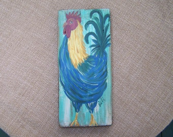 Folk Art Rooster Painting  FREE SHIPPING