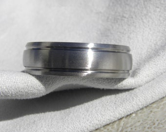 Titanium Ring, Wedding Band, Domed 2 Grooves, All Brushed