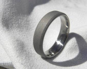 Titanium Ring, Bevel Edge Cut Wedding Band, All Sandblasted