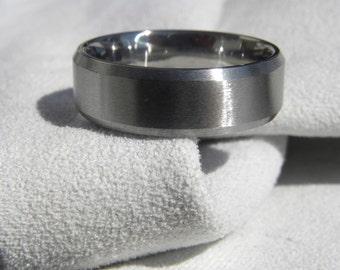 Titanium Ring,  Bevel Edge Cut, Wedding Band, All Brushed Finish