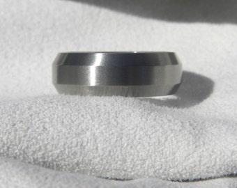 Titanium Ring, Wedding Band, Bevel Edges, All Satin