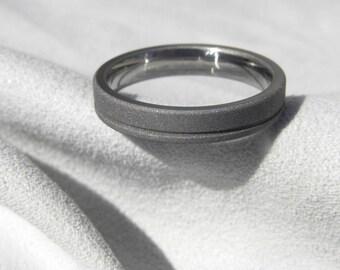 Titanium Ring with Single Offset Groove, Wedding Band, Sandblasted
