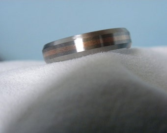 Titanium Rose Gold Inlay Ring, Beveled Edges, Brushed Finish