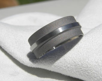 Titanium Ring or Wedding Band, Mens Ring, Sandblasted Brushed Combination