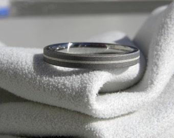 Titanium Ring with Silver Pinstripe Inlay, Wedding Band, Sandblasted Ring