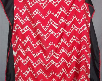 Vintage Givenchy Silk Scarf Square Red White Black Zig Zag