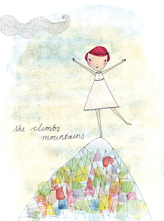 She Climbs Mountains Archival Wall Art Print kids decor