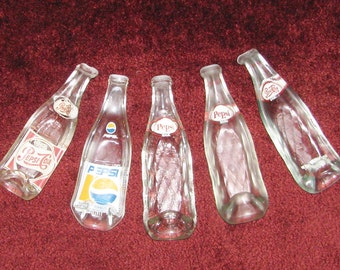 Vintage PEPSI bottle - Melted PEPSI bottle  - spoonrest or dish - various sized bottles 8 - 10 fl ounce size