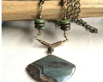 Gemstone Necklace Snakesking Jasper Pendant OOAK Handmade