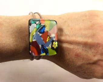 Memorial Keepsake fused glass bracelet with Pets Ashes