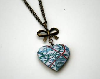 Map Locket Necklace, Map Necklace, Heart shaped locket