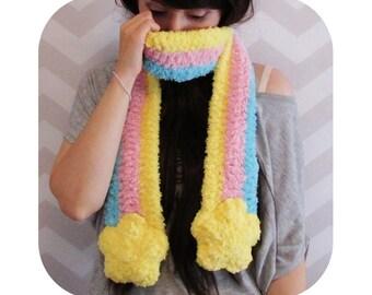 Shooting Star Scarf - fuzzy scarf - fairy kei - harajuku - pastel goth - lolita - pastel rainbow - kawaii and cute