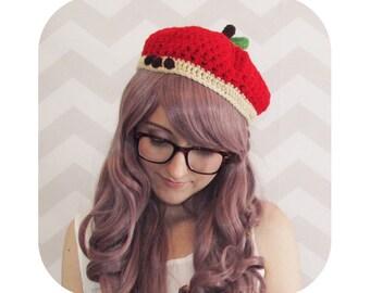 INSTANT DOWNLOAD - cutie apple beret - PDF crochet pattern