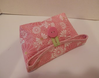 Foldover Bag/Pink and White Floral