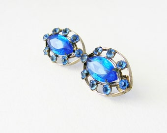 Vintage Blue Sapphire Colored Glass Clip One Earrings,Blue Glass and Blue Rhinestone Silver Plated Clip On Earrings