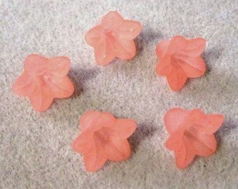 Coral Pink Frosted Lucite Acrylic Flower Cap Beads 12mm x 18mm 410