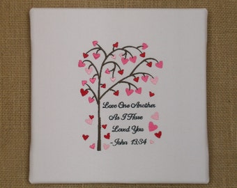 Wedding Gift, Love One Another Wall Art, John 13:34, Embroidered Canvas Art