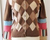 Reconstructed Hoodie Cardigan Sweater - Eco Friendly Style - Size Small-Medium