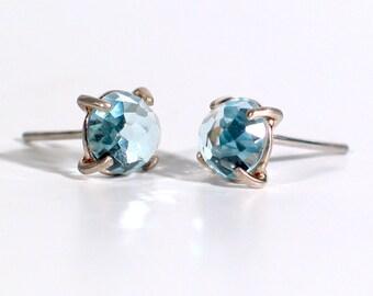 Rose Cut Sky Blue Topaz Earrings