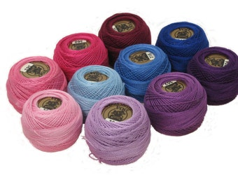Vog© Perle Cotton Size 8 Embroidery Threads - Set of 10 Balls (10gr Each) - Pink, Purple and Blue Shades (Set No. 1)