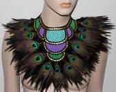Peacock pleasures neon blue green beaded feather statement bib collar Necklace high fashion tribal fusion warrior goddess couture