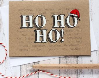 Handmade Christmas Card. Christmas Card. Xmas Card. Holiday Card. Christmas Cards. Ho Ho Ho! Santa's Hat. Christmas. Santa Hat Card.