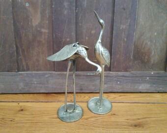 Vintage Brass Standing Crane Stork Heron Bird Set of Two