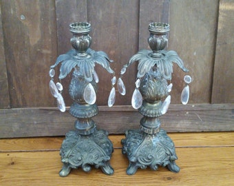 Vintage Metal Victorian Hollywood Regency Candle Holders With Glass Prisms Loevsky Style