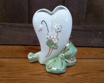 Vintage Porcelain Heart Flower Vase Pencil Holder
