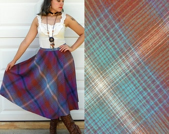 1970s Vintage Purple and Teal Recycled Wool Plaid Skirt High Waist A Line with Pockets Librarian Skirt Full Skirt Size Medium