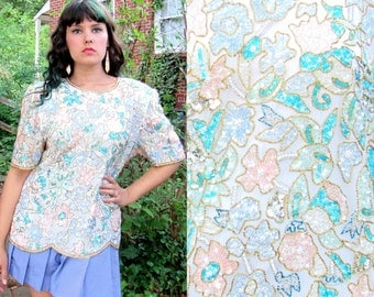 1980s Vintage Laurence Kazar Beaded Silk Blouse Cream Pastel Beaded Blouse Pastel Floral Sequins Size Extra Large