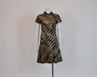 1960s Wiggle Dress / Vintage 60s Zig Zag Sequin Dress