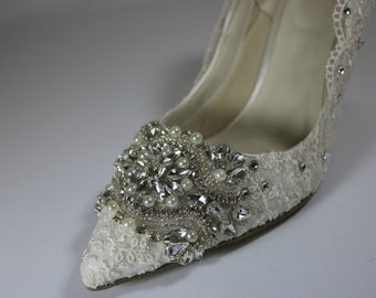 Ivory Lace Wedding Shoes .. Crystal and Pearl Shoes .. Pointed Toe Bridal Shoes .. Custom Design..High Heels .. FREE postage within the US