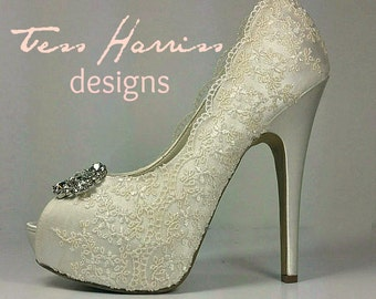 Lacy sparkly High Heel  Wedding shoes... ivory Lace Bridal Shoes .. 5.25 inch heels .. Lacy Wedding Heels . Bridal Heels . Xtra High Heels
