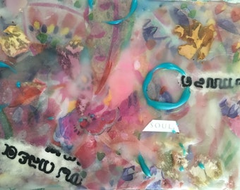 Encaustic painting, collage 4x5 inches, wax on board