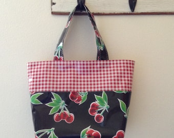 Beth's Medium Black Cherry Oilcloth Market Tote Bag