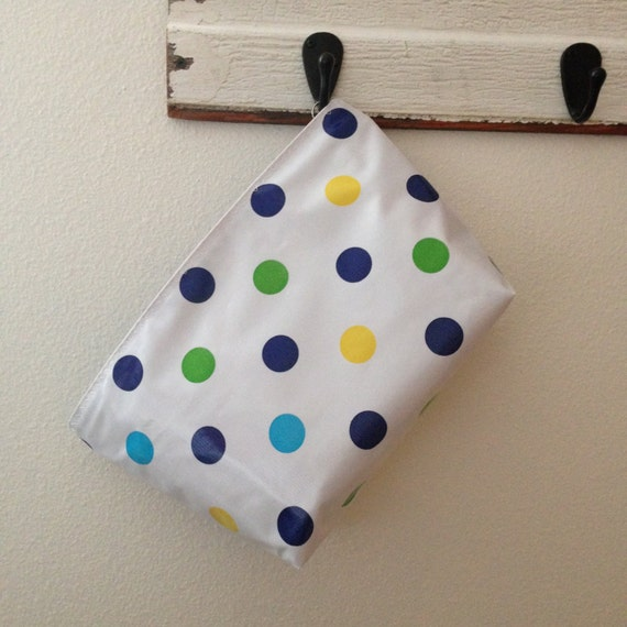 Beth s large blue tokyo dot oilcloth cosmetic by bethsmarketbags