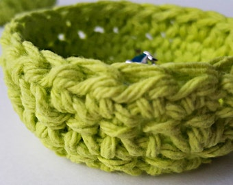 Green Crochet Basket, Trinket Bowl, Small Basket, Ring Dish