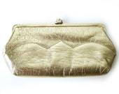1960s Mod Gold Clutch with Gold Clasp Evening Bag - Shiny Glittery Glamour Holiday Handbag Floral Clasp