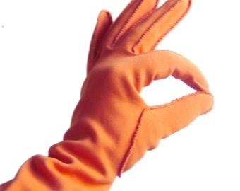 Vintage Gloves in Dusty Orange Pumpkin- Crescendoe Evening Gloves  / Size 7 Regular