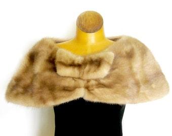 Vintage 1950's Blonde Mink Fur Stole / Fur Wedding Capelet / Mink Fur Shrug / Amra Luxur