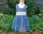 Toddler, smocked dress, jumper, sunflowers, red ladybugs, hearts, blue dress, size 2/2T, ready to ship, OOAK, sundress, party dress, autumn