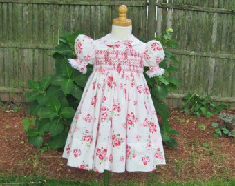Shabby roses, Hand smocked, Toddler dress, Size 2T, Ready to ship, Pink roses, Easter dress Special occasion, Flower girl dress, Party dress